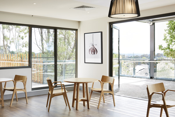Light and open communal spaces at MannaCare, Doncaster